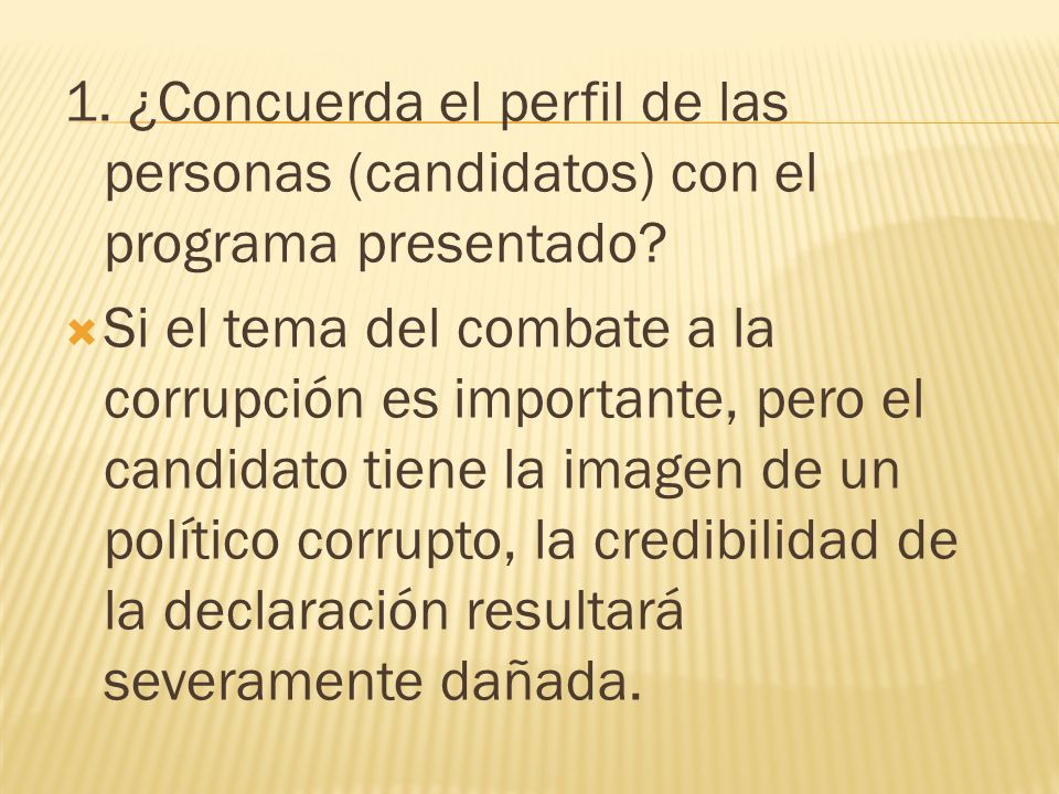 1. ¿Concuerda el perfil de las personas (candidatos) con el programa presentado