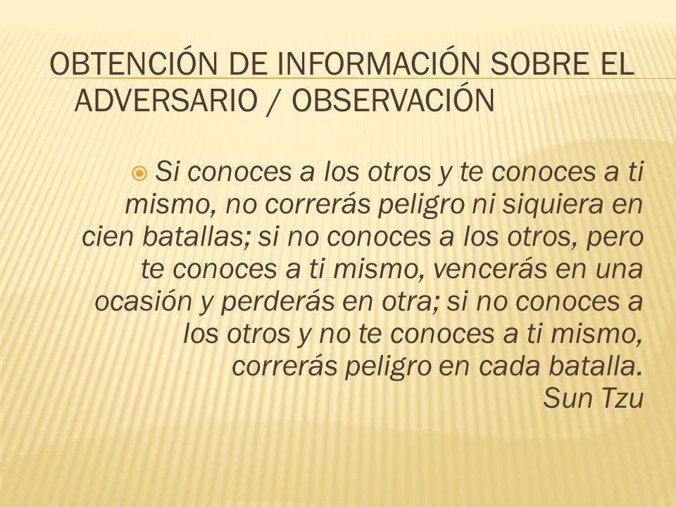 OBTENCIÓN DE INFORMACIÓN SOBRE EL ADVERSARIO / OBSERVACIÓN