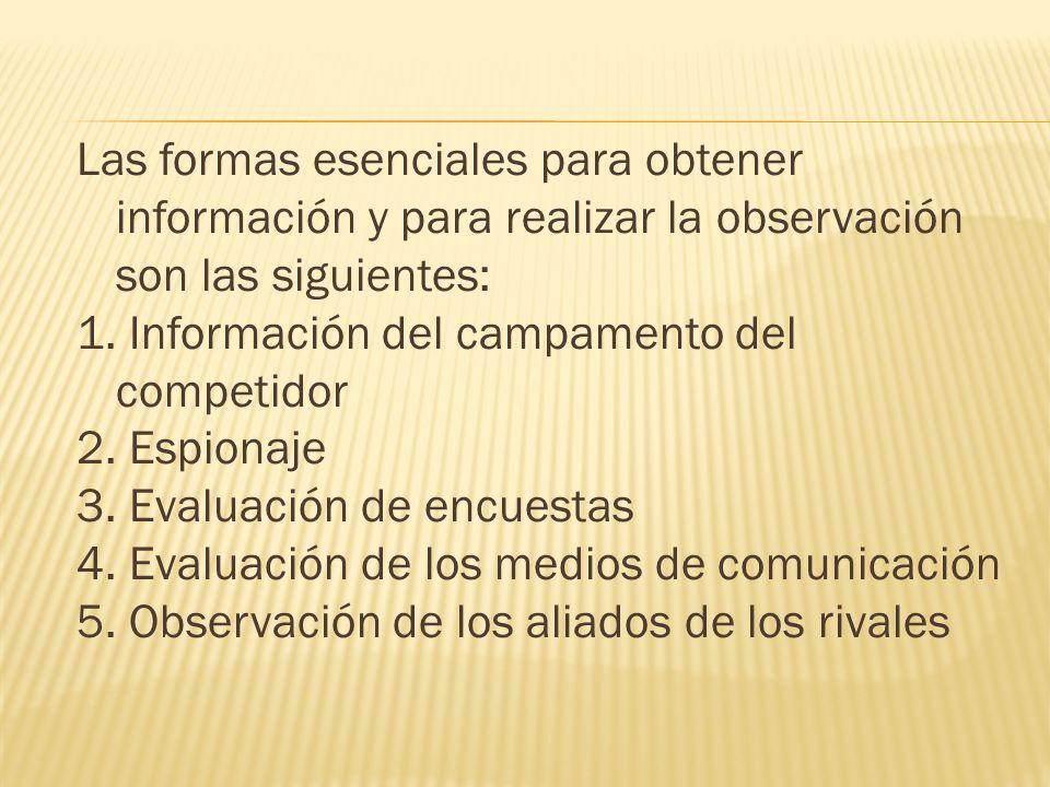 Las formas esenciales para obtener información y para realizar la observación son las siguientes: