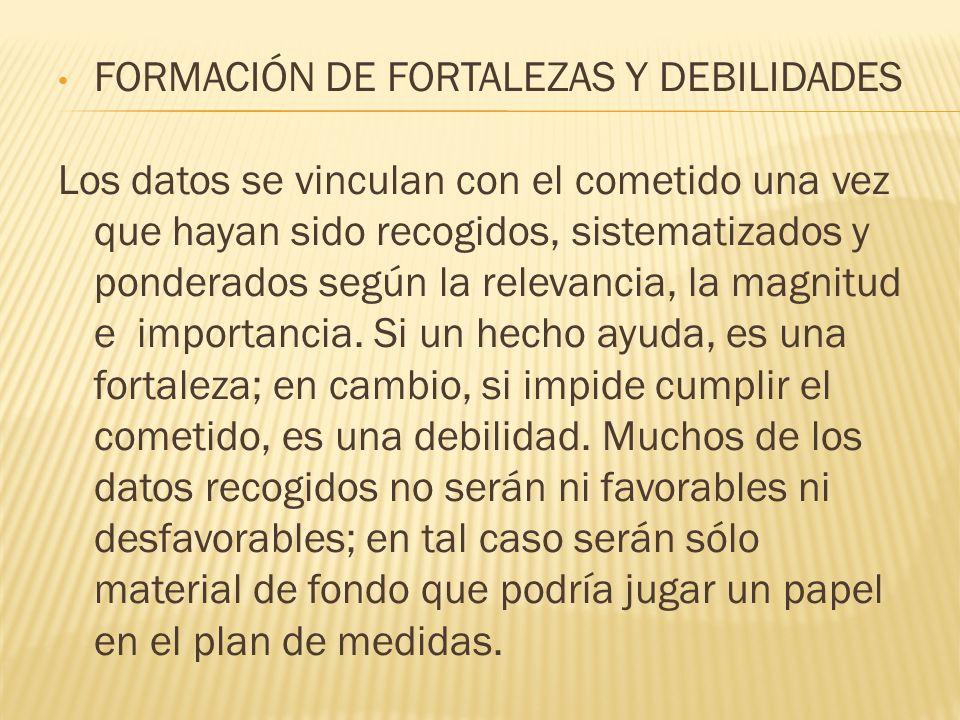 FORMACIÓN DE FORTALEZAS Y DEBILIDADES