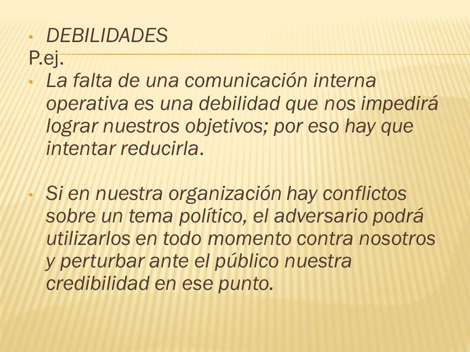 DEBILIDADES P.ej.