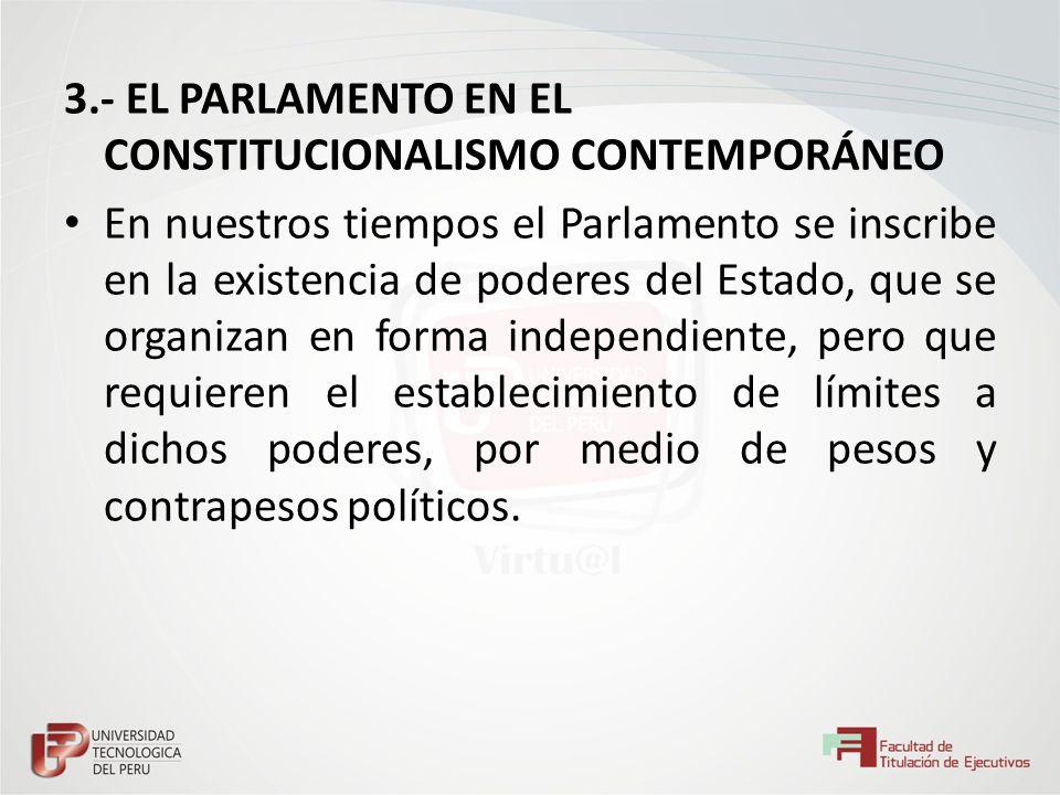 3.- EL PARLAMENTO EN EL CONSTITUCIONALISMO CONTEMPORÁNEO