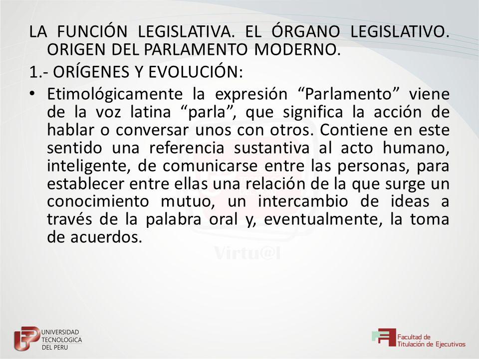 LA FUNCIÓN LEGISLATIVA. EL ÓRGANO LEGISLATIVO