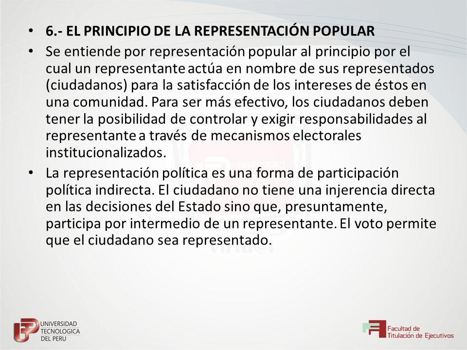 6.- EL PRINCIPIO DE LA REPRESENTACIÓN POPULAR
