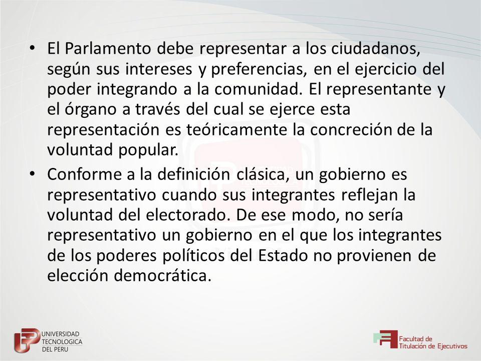 El Parlamento debe representar a los ciudadanos, según sus intereses y preferencias, en el ejercicio del poder integrando a la comunidad. El representante y el órgano a través del cual se ejerce esta representación es teóricamente la concreción de la voluntad popular.