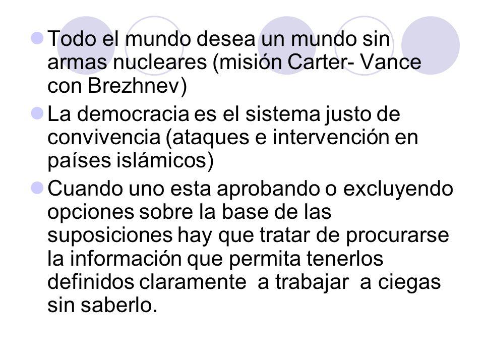 Todo el mundo desea un mundo sin armas nucleares (misión Carter- Vance con Brezhnev)