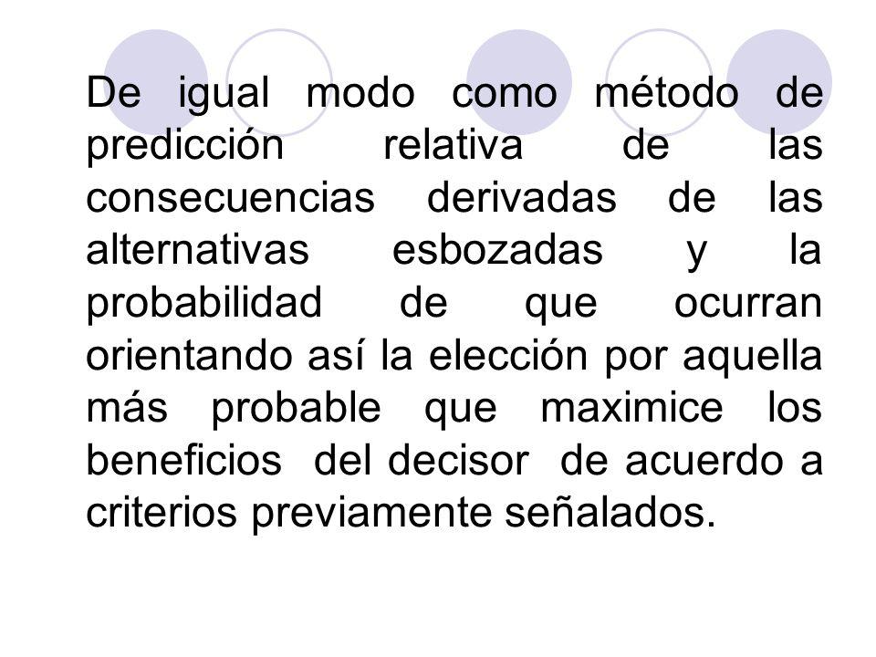 De igual modo como método de predicción relativa de las consecuencias derivadas de las alternativas esbozadas y la probabilidad de que ocurran orientando así la elección por aquella más probable que maximice los beneficios del decisor de acuerdo a criterios previamente señalados.