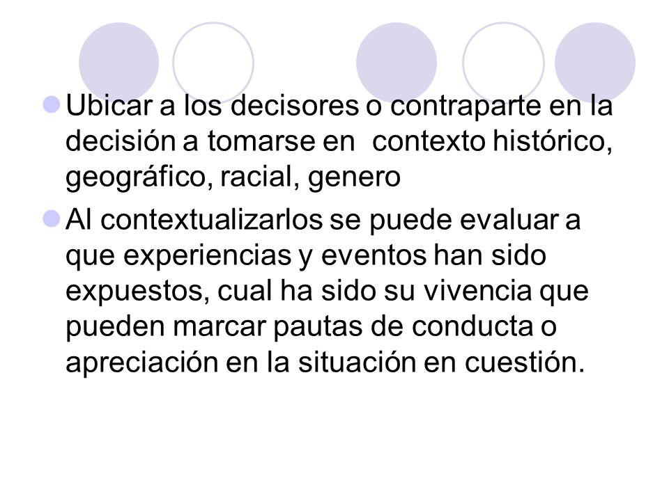 Ubicar a los decisores o contraparte en la decisión a tomarse en contexto histórico, geográfico, racial, genero