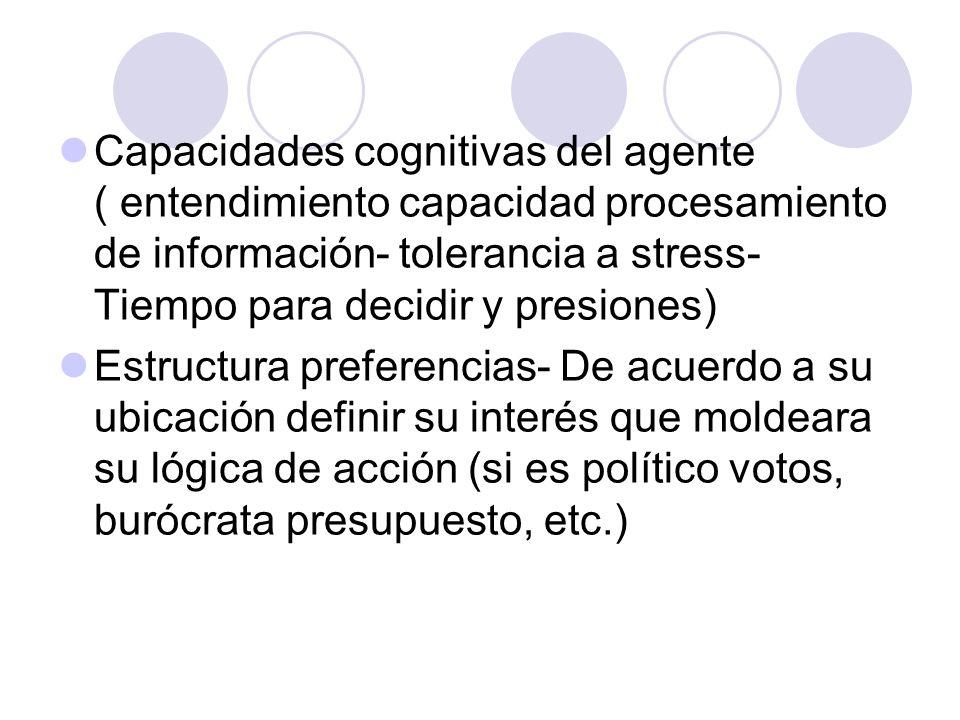 Capacidades cognitivas del agente ( entendimiento capacidad procesamiento de información- tolerancia a stress- Tiempo para decidir y presiones)