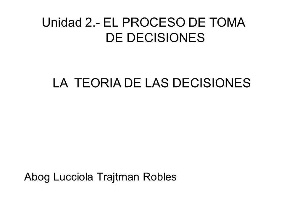 Unidad 2. - EL PROCESO DE TOMA. DE DECISIONES