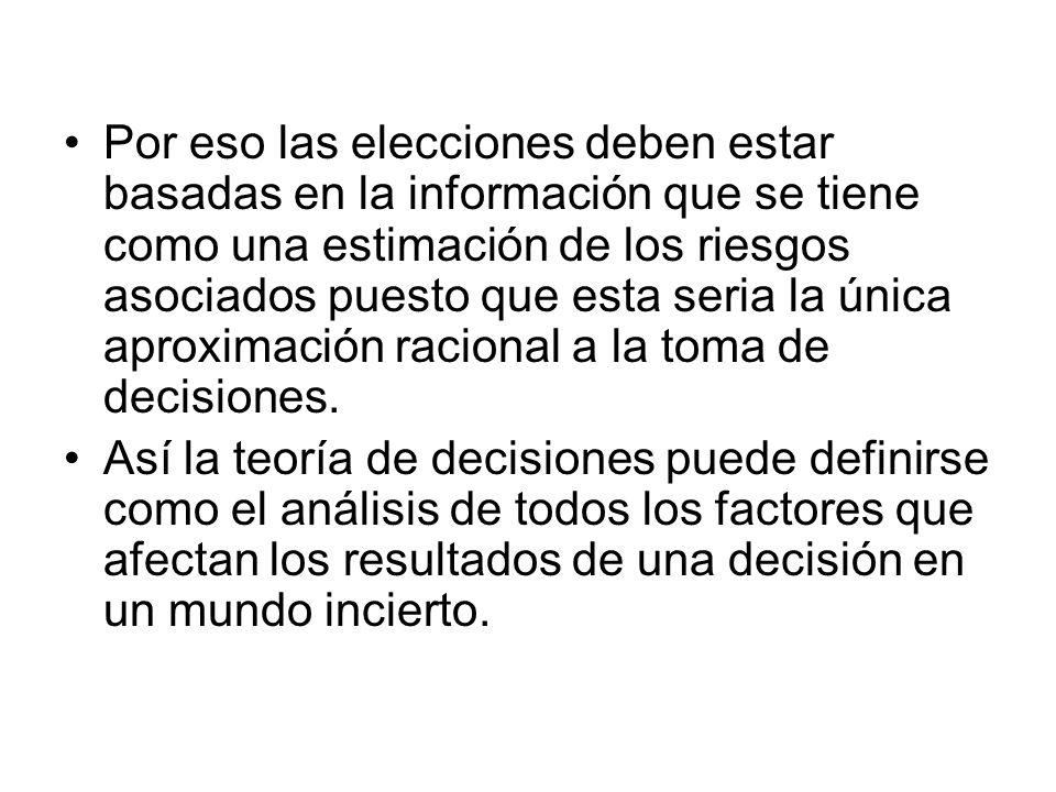 Por eso las elecciones deben estar basadas en la información que se tiene como una estimación de los riesgos asociados puesto que esta seria la única aproximación racional a la toma de decisiones.