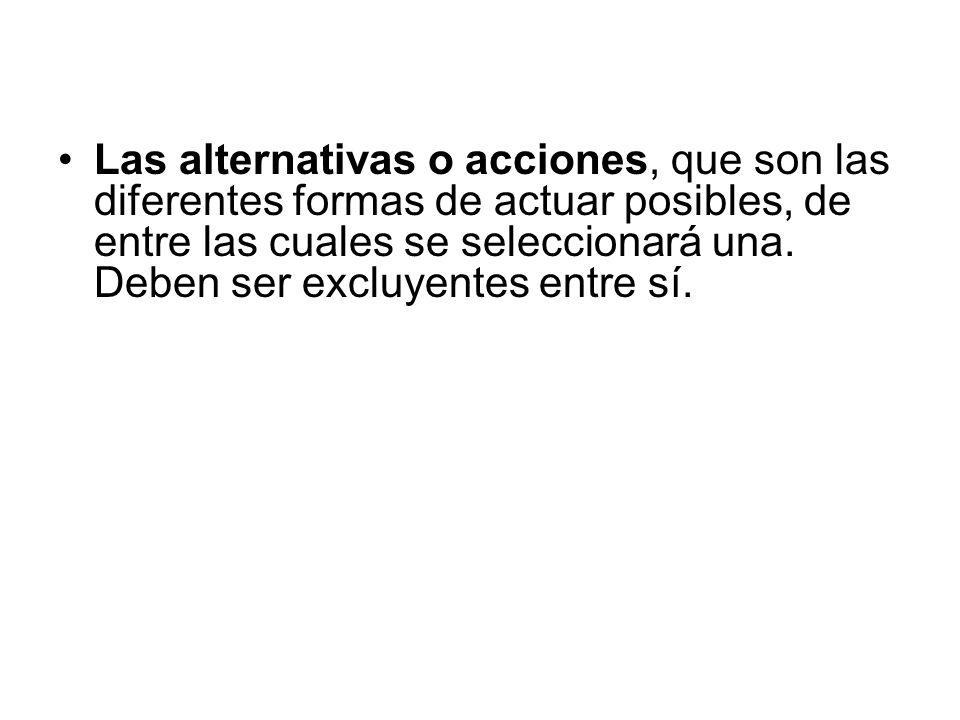 Las alternativas o acciones, que son las diferentes formas de actuar posibles, de entre las cuales se seleccionará una.