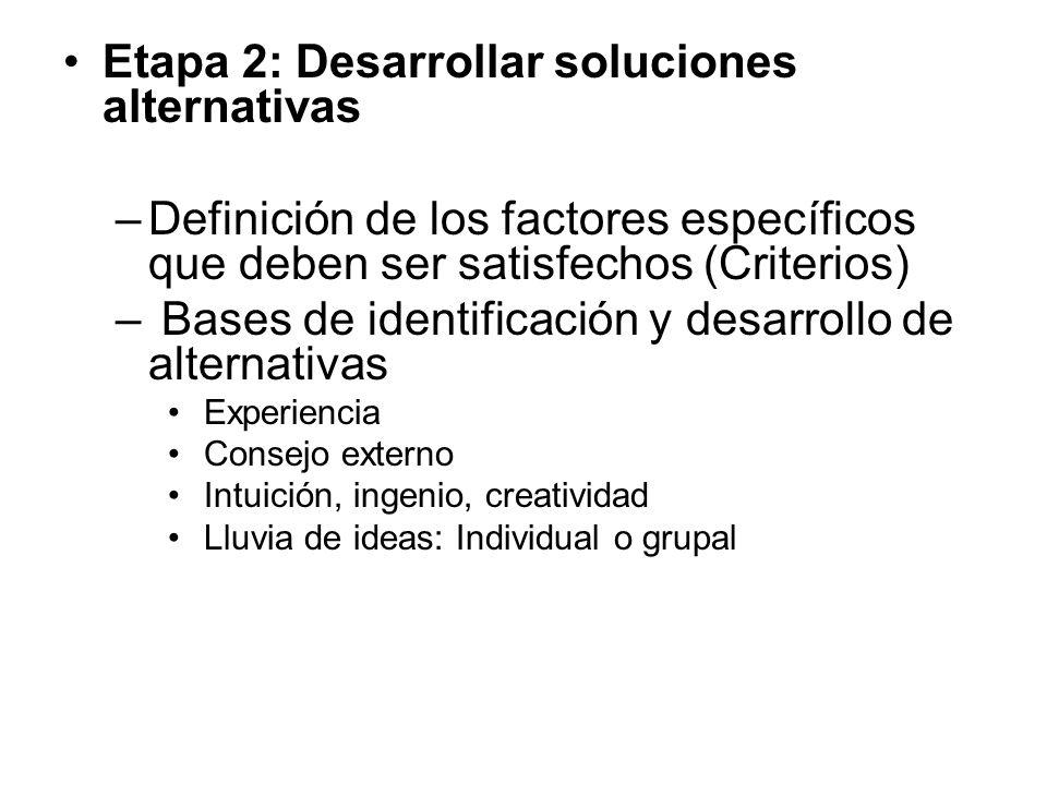Etapa 2: Desarrollar soluciones alternativas