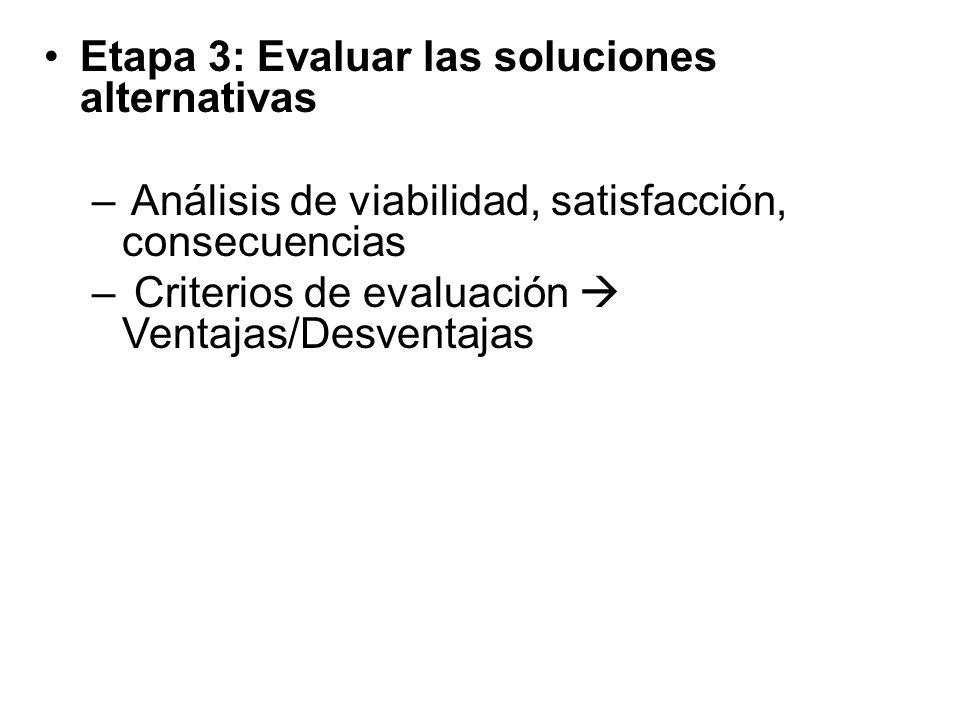Etapa 3: Evaluar las soluciones alternativas