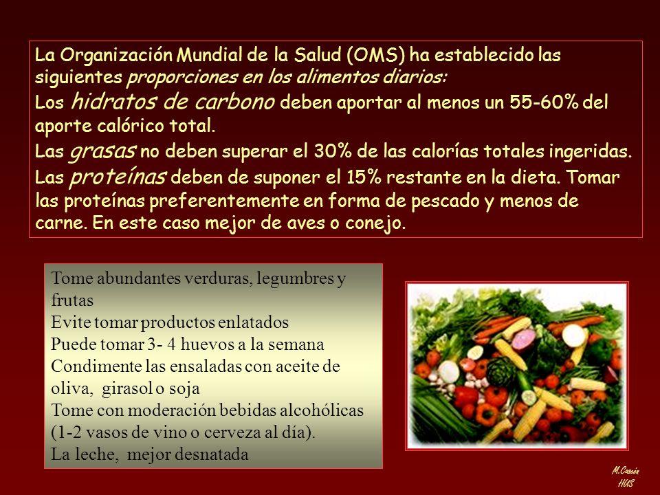 La Organización Mundial de la Salud (OMS) ha establecido las siguientes proporciones en los alimentos diarios: