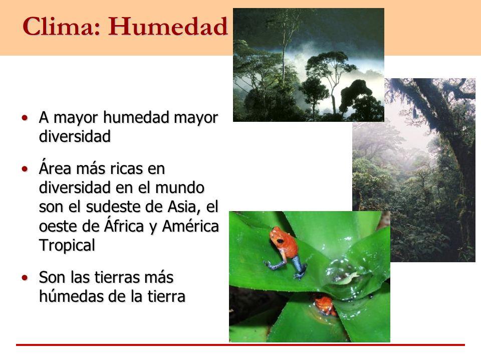 Clima: Humedad A mayor humedad mayor diversidad