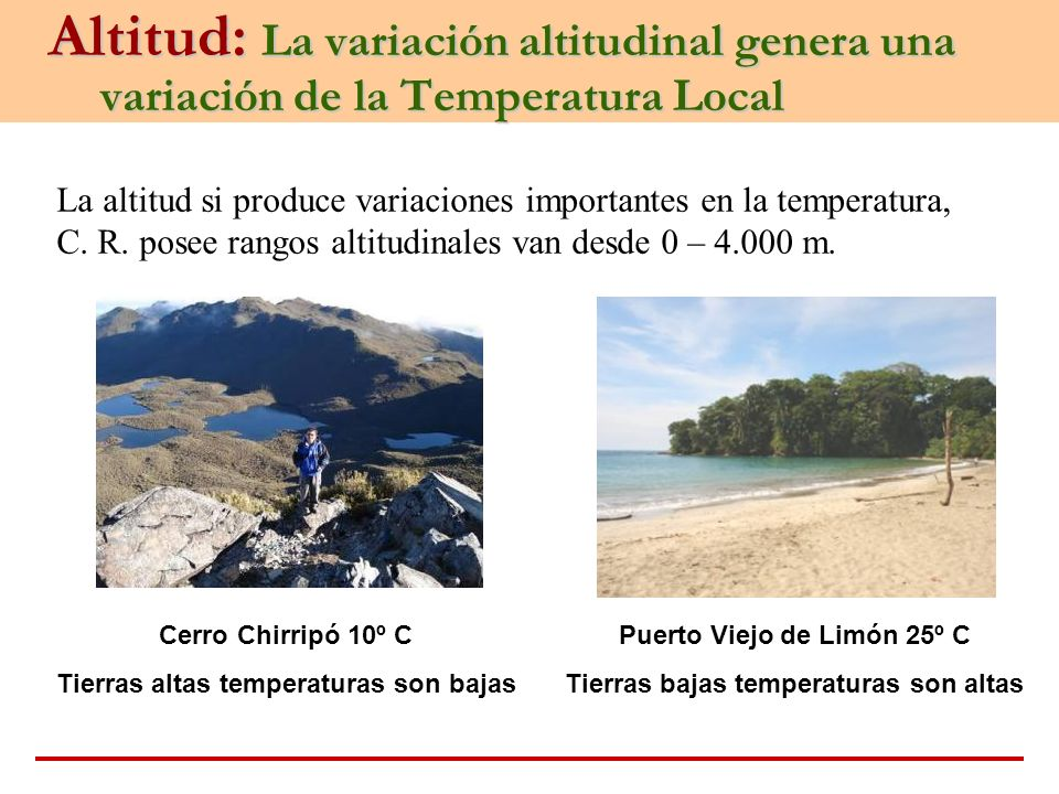 Altitud: La variación altitudinal genera una variación de la Temperatura Local