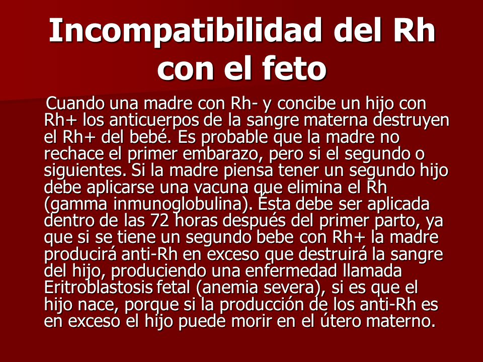Incompatibilidad del Rh con el feto