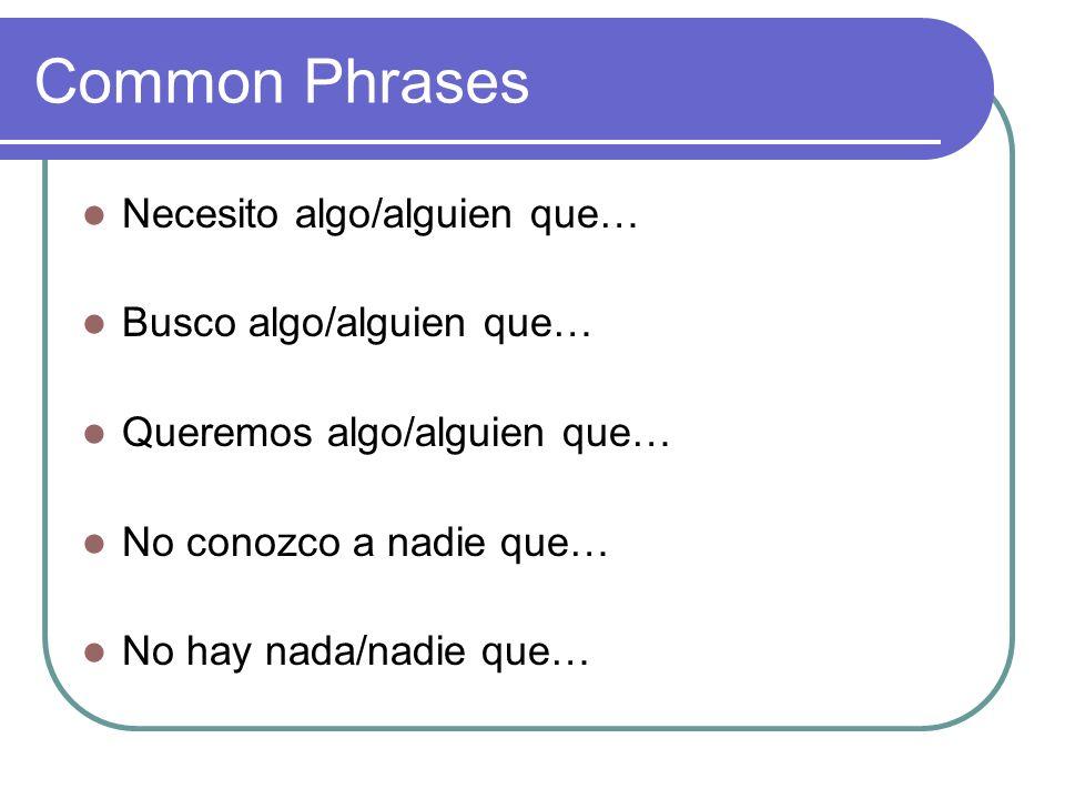 Common Phrases Necesito algo/alguien que… Busco algo/alguien que…