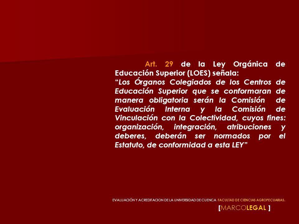 Art. 29 de la Ley Orgánica de Educación Superior (LOES) señala:
