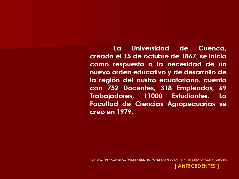 La Universidad de Cuenca, creada el 15 de octubre de 1867, se inicia como respuesta a la necesidad de un nuevo orden educativo y de desarrollo de la región del austro ecuatoriano, cuenta con 752 Docentes, 318 Empleados, 69 Trabajadores, 11000 Estudiantes. La Facultad de Ciencias Agropecuarias se creo en 1979.