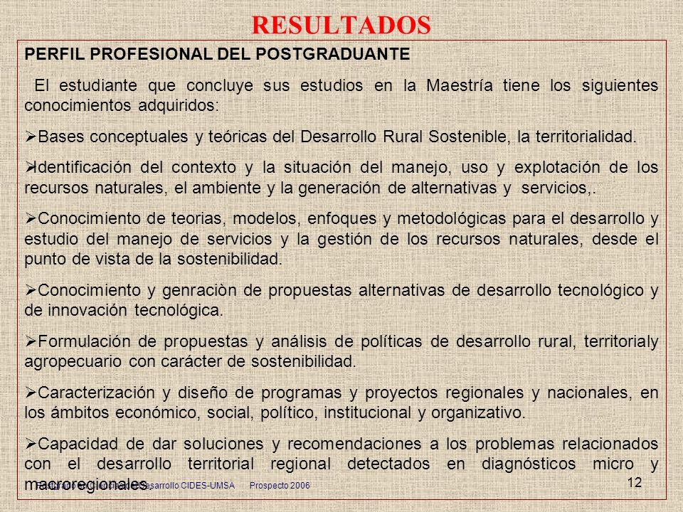 RESULTADOS PERFIL PROFESIONAL DEL POSTGRADUANTE