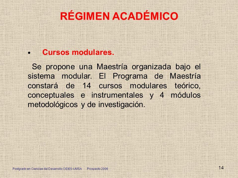 RÉGIMEN ACADÉMICO· Cursos modulares.