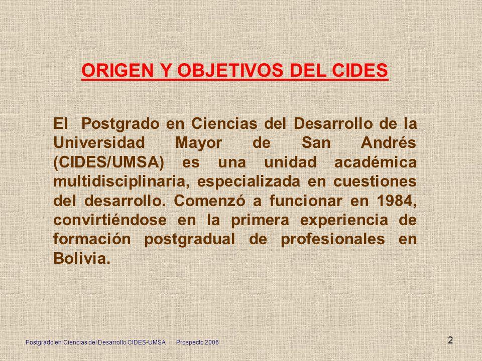 ORIGEN Y OBJETIVOS DEL CIDES