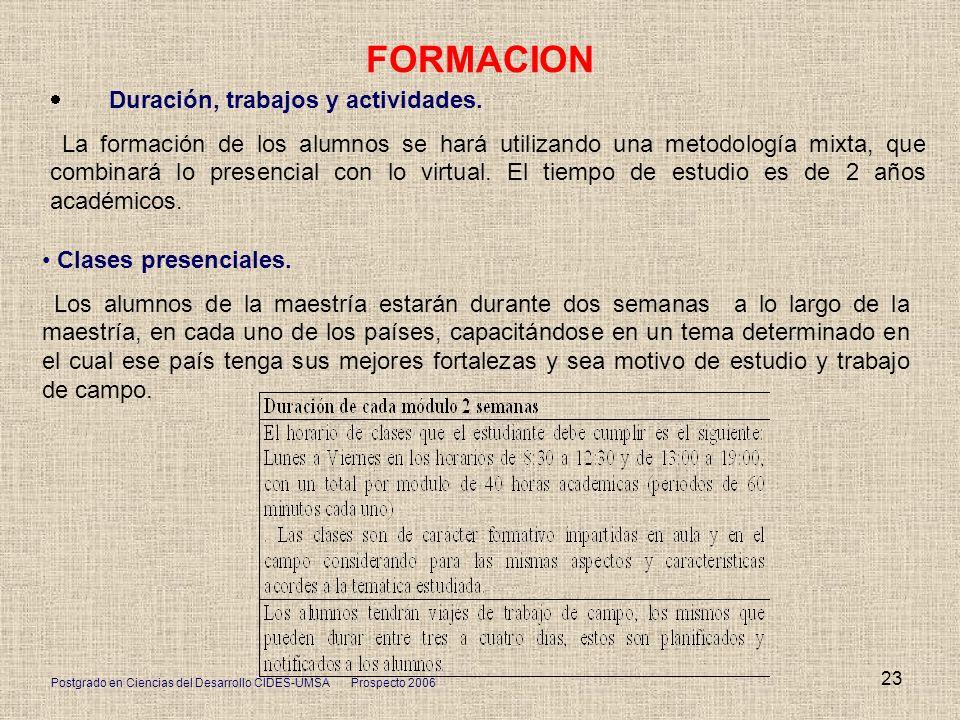 FORMACION · Duración, trabajos y actividades.