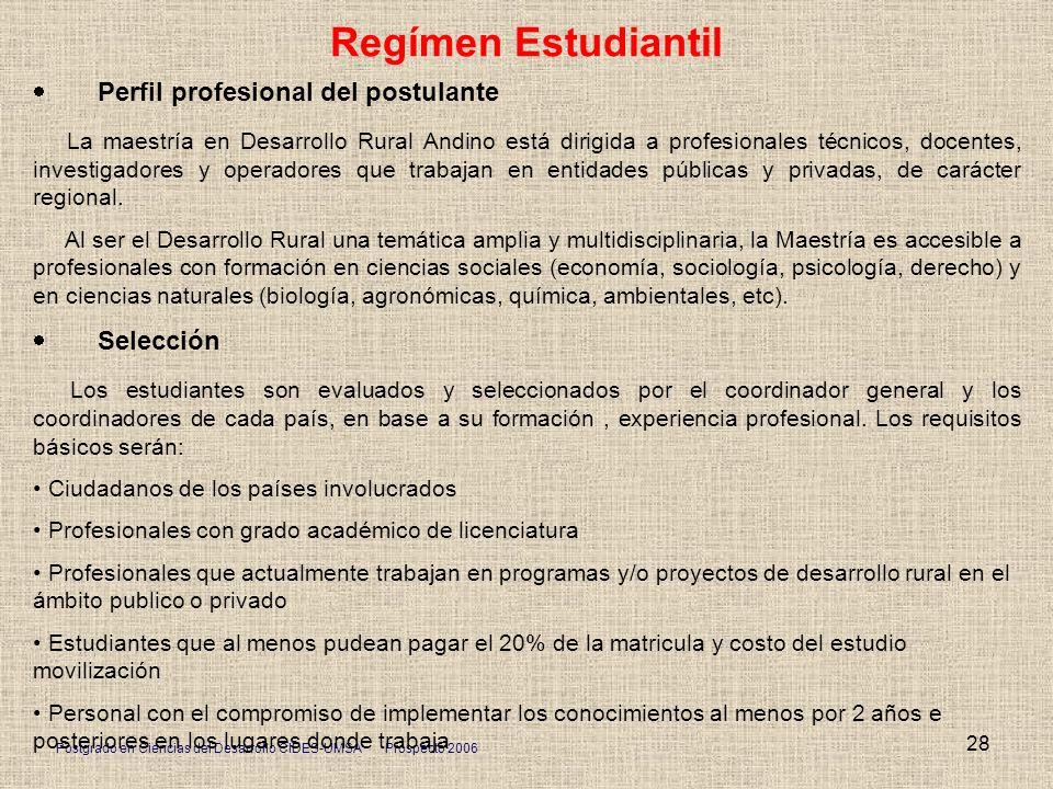 Regímen Estudiantil · Perfil profesional del postulante