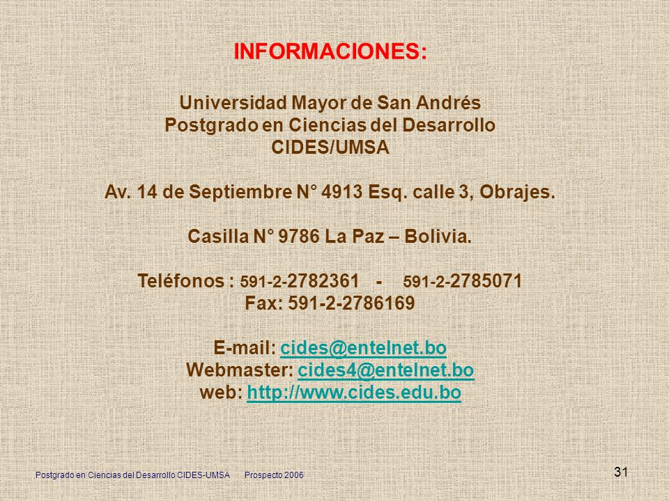 INFORMACIONES: Universidad Mayor de San Andrés