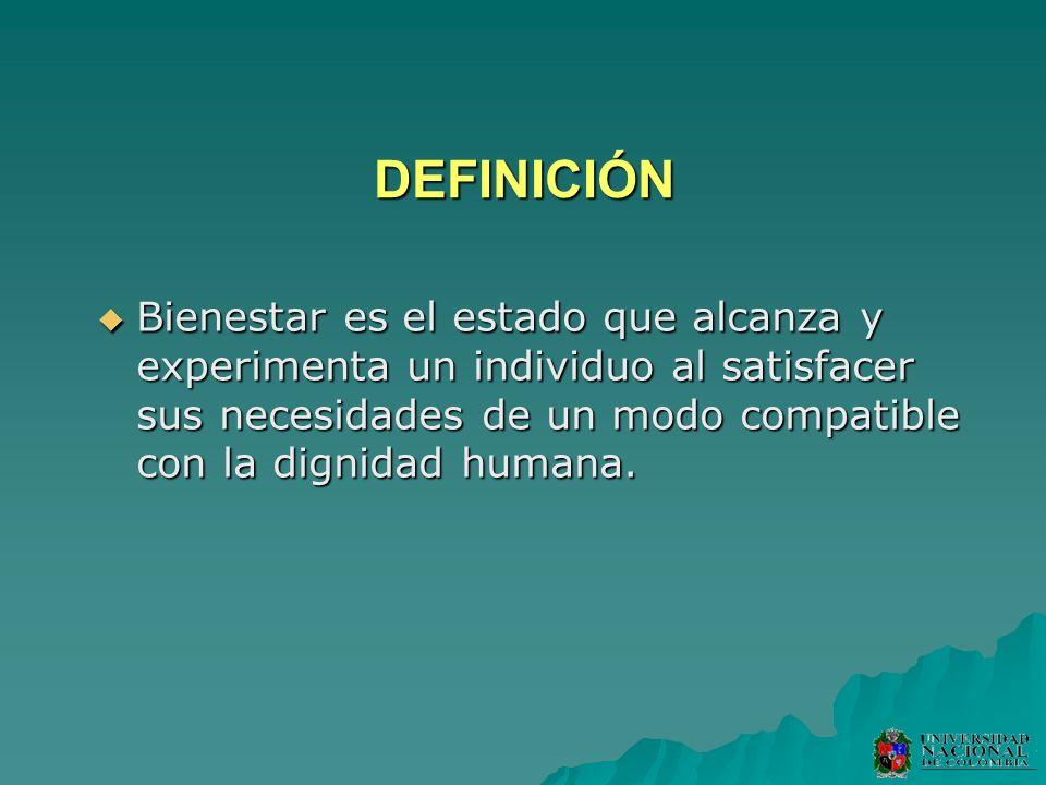 DEFINICIÓN Bienestar es el estado que alcanza y experimenta un individuo al satisfacer sus necesidades de un modo compatible con la dignidad humana.