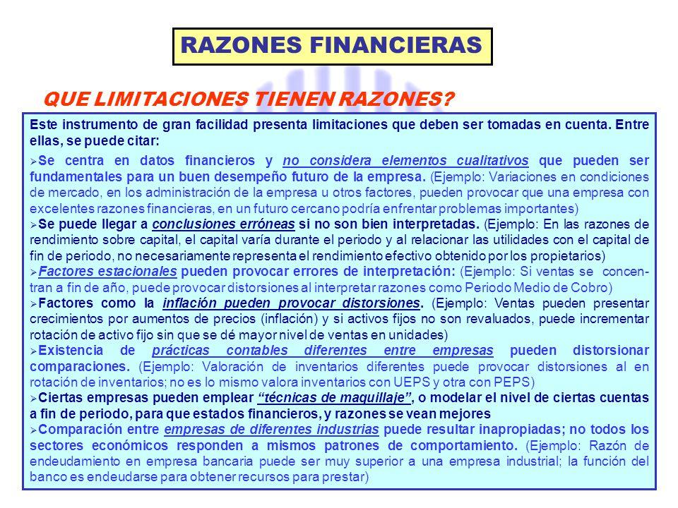 RAZONES FINANCIERAS QUE LIMITACIONES TIENEN RAZONES