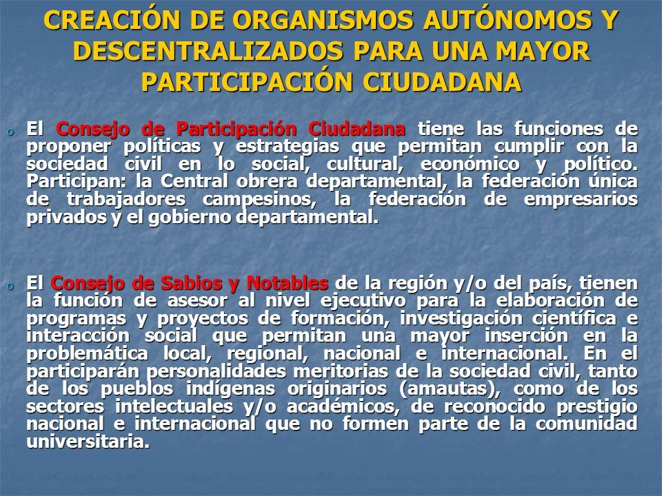 CREACIÓN DE ORGANISMOS AUTÓNOMOS Y DESCENTRALIZADOS PARA UNA MAYOR PARTICIPACIÓN CIUDADANA