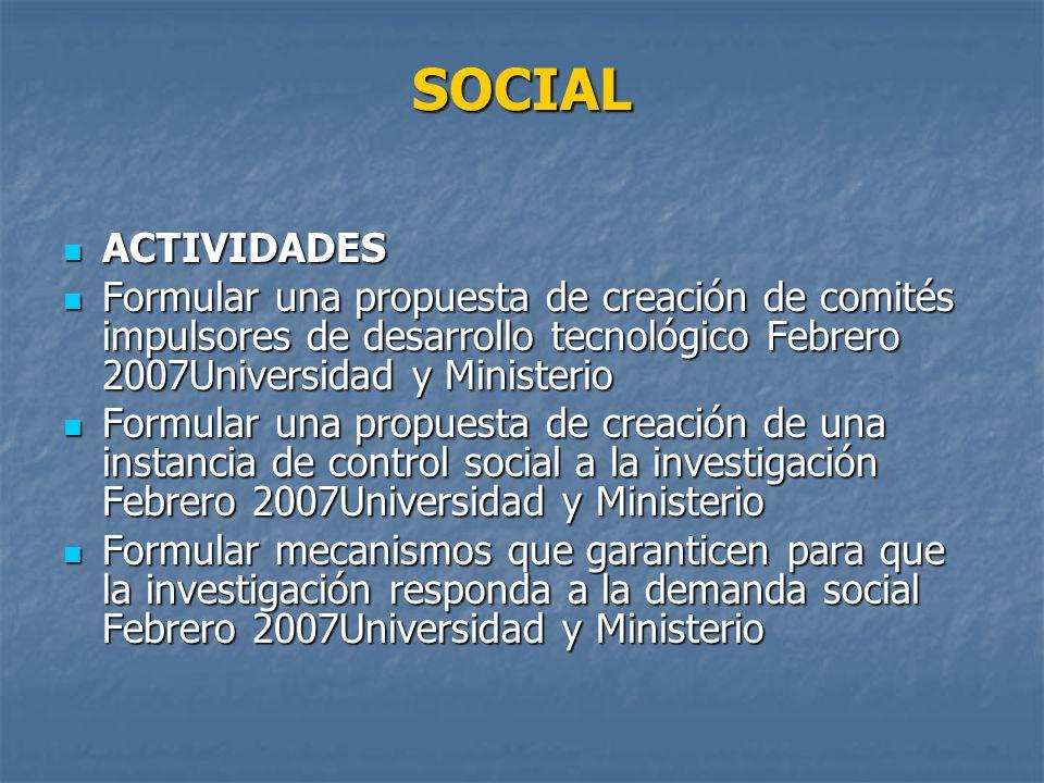 SOCIAL ACTIVIDADES. Formular una propuesta de creación de comités impulsores de desarrollo tecnológico Febrero 2007Universidad y Ministerio.