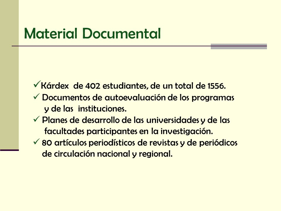 Material Documental Kárdex de 402 estudiantes, de un total de 1556.