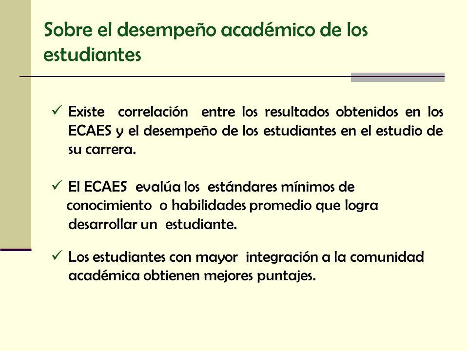 Sobre el desempeño académico de los estudiantes