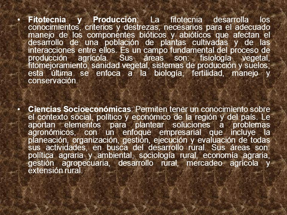 Fitotecnia y Producción: La fitotecnia desarrolla los conocimientos, criterios y destrezas, necesarios para el adecuado manejo de los componentes bióticos y abióticos que afectan el desarrollo de una población de plantas cultivadas y de las interacciones entre ellos. Es un campo fundamental del proceso de producción agrícola. Sus áreas son: fisiología vegetal, fitomejoramiento, sanidad vegetal, sistemas de producción y suelos; esta última se enfoca a la biología, fertilidad, manejo y conservación.