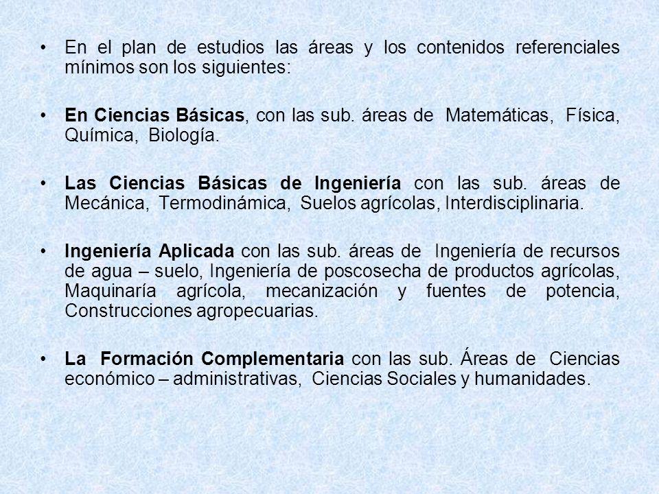 En el plan de estudios las áreas y los contenidos referenciales mínimos son los siguientes: