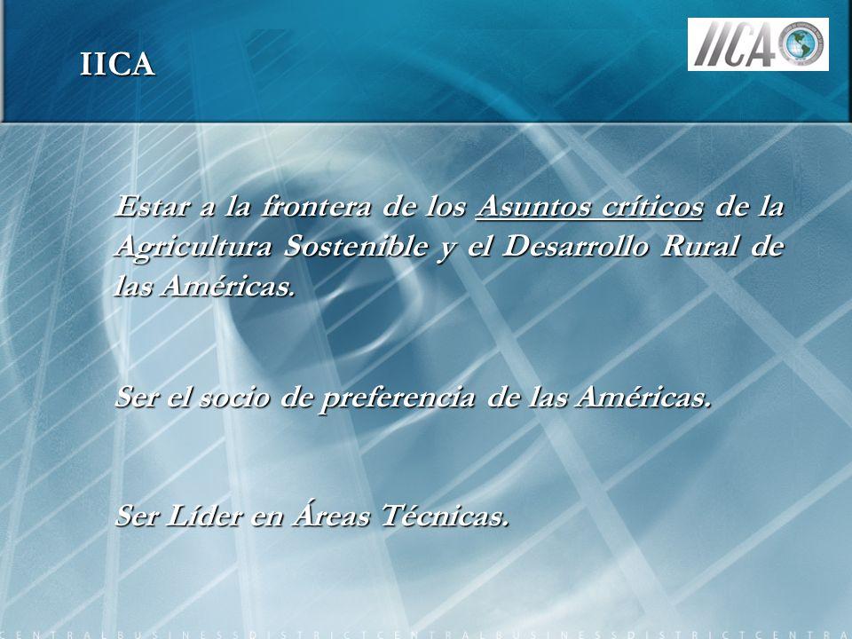 IICA Estar a la frontera de los Asuntos críticos de la Agricultura Sostenible y el Desarrollo Rural de las Américas.