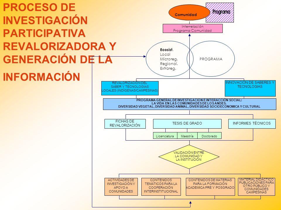 PROCESO DE INVESTIGACIÓN PARTICIPATIVA REVALORIZADORA Y GENERACIÓN DE LA INFORMACIÓN