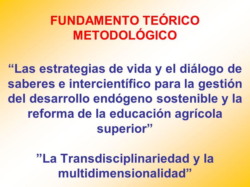FUNDAMENTO TEÓRICO METODOLÓGICO Las estrategias de vida y el diálogo de saberes e intercientífico para la gestión del desarrollo endógeno sostenible y la reforma de la educación agrícola superior La Transdisciplinariedad y la multidimensionalidad