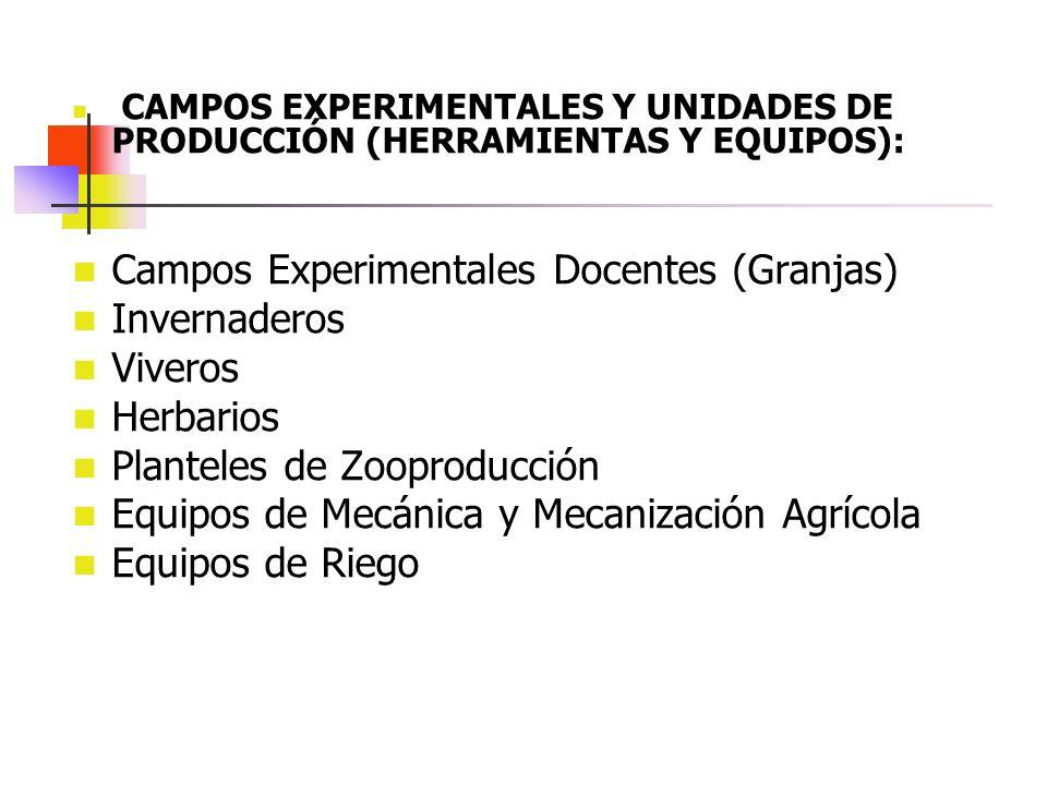 Campos Experimentales Docentes (Granjas) Invernaderos Viveros