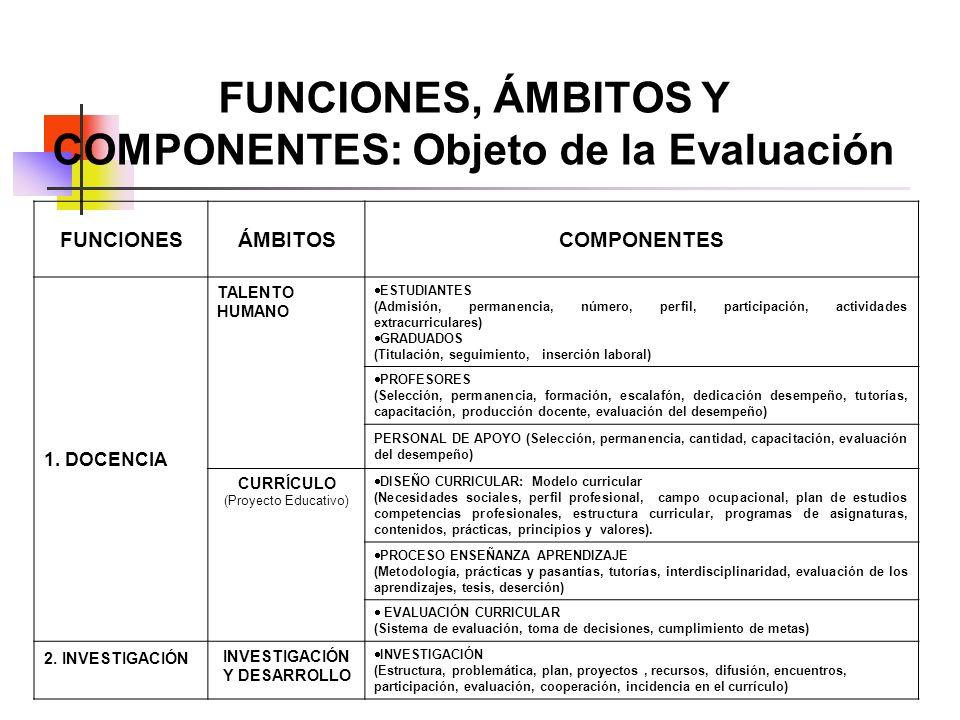 FUNCIONES, ÁMBITOS Y COMPONENTES: Objeto de la Evaluación