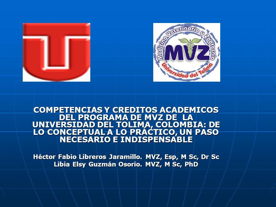COMPETENCIAS Y CREDITOS ACADEMICOS DEL PROGRAMA DE MVZ DE LA UNIVERSIDAD DEL TOLIMA, COLOMBIA: DE LO CONCEPTUAL A LO PRÁCTICO, UN PASO NECESARIO E INDISPENSABLE