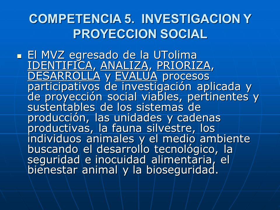 COMPETENCIA 5. INVESTIGACION Y PROYECCION SOCIAL