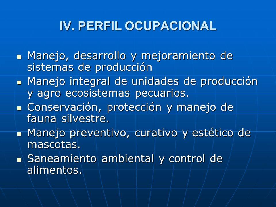 IV. PERFIL OCUPACIONAL Manejo, desarrollo y mejoramiento de sistemas de producción.