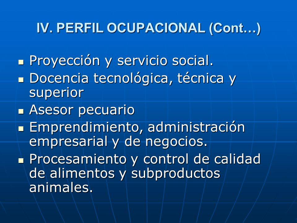 IV. PERFIL OCUPACIONAL (Cont…)