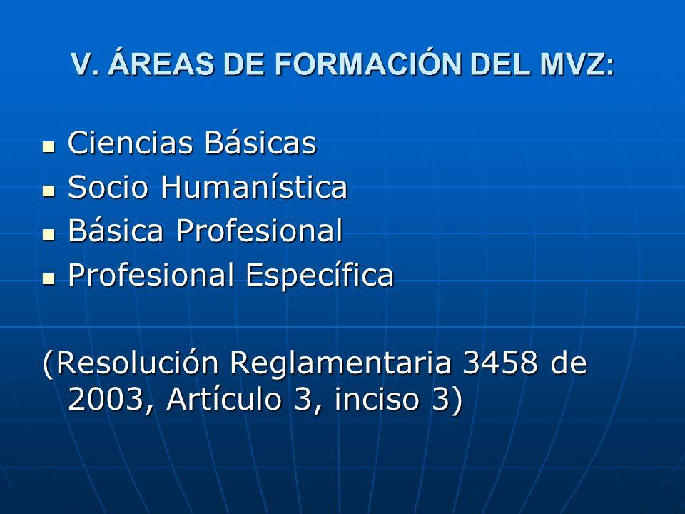 V. ÁREAS DE FORMACIÓN DEL MVZ: