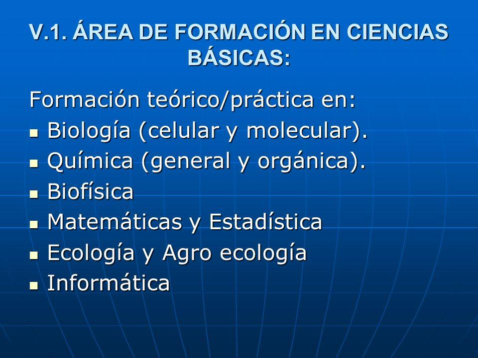 V.1. ÁREA DE FORMACIÓN EN CIENCIAS BÁSICAS: